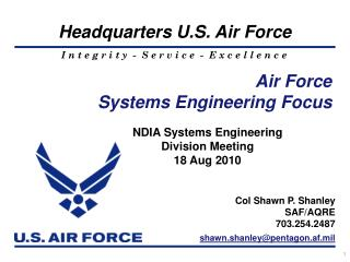 Air Force  Systems  Engineering  Focus