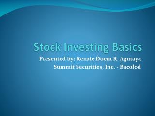 Stock Investing Basics