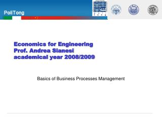 Economics for Engineering  Prof. Andrea Sianesi academical  year 2008/2009