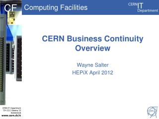 CERN Business Continuity Overview