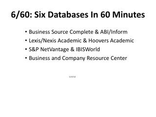 6/60: Six Databases In 60 Minutes