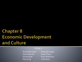 Chapter 8 Economic Development and Culture