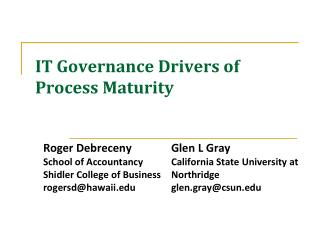 IT Governance Drivers of  Process  Maturity