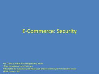 E-Commerce: Security