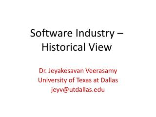 Software Industry – Historical View