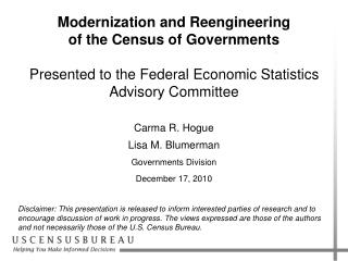 Modernization and Reengineering of the Census of Governments Presented to the Federal Economic Statistics Advisory Comm