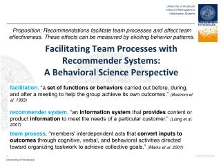 Facilitating Team Processes with Recommender Systems: A  Behavioral  Science Perspective