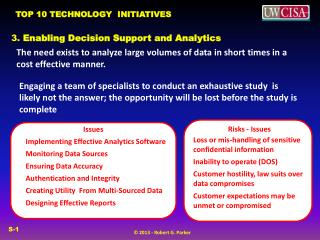3.  Enabling Decision Support and  Analytics