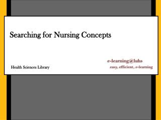 Searching for Nursing Concepts