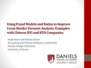 Using Fraud Models and Ratios to Improve Cross-Border Forensic Analysis: Examples with Chinese IPO and RTO Companies