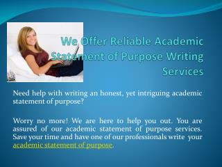 Academic Statement of Purpose