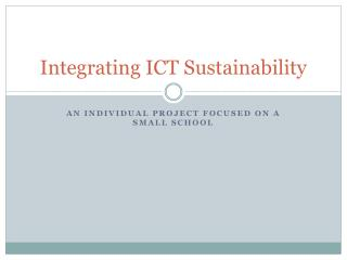 Integrating ICT Sustainability