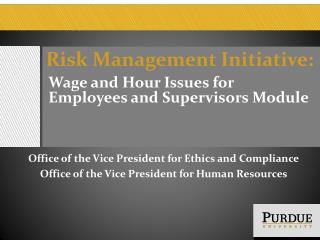 Risk Management Initiative: