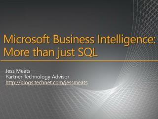 Microsoft Business Intelligence:  More than just SQL