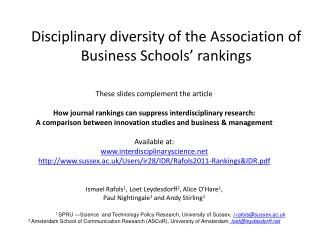 Disciplinary diversity of the Association of Business Schools� rankings