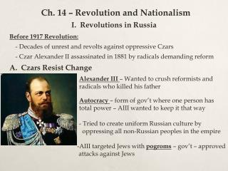 Ch. 14 – Revolution and Nationalism