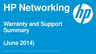 HP Networking Warranty and Support Summary (June  2014)