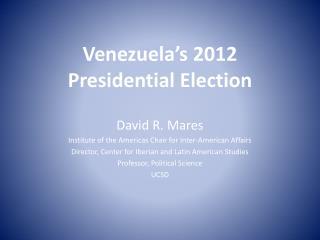 Venezuela's 2012 Presidential Election