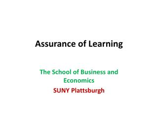 Assurance of Learning