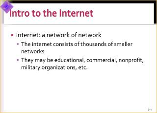 Intro to the Internet