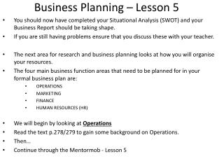 Business Planning – Lesson  5