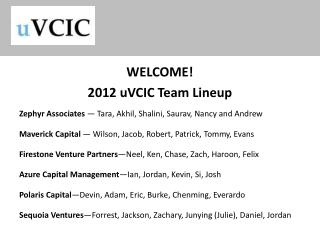 WELCOME!  2012 uVCIC Team Lineup Zephyr Associates  — Tara, Akhil, Shalini, Saurav, Nancy and Andrew