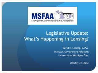 Legislative Update:  What's Happening in Lansing?