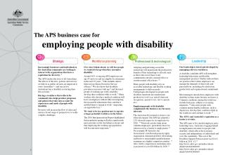 The APS business case  for  employing  people with disability