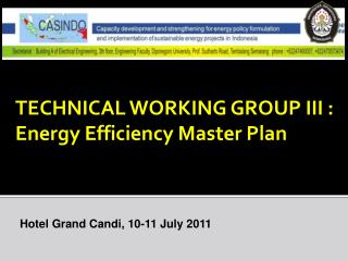 TECHNICAL WORKING GROUP III : Energy Efficiency Master Plan