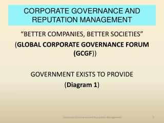 CORPORATE GOVERNANCE AND REPUTATION MANAGEMENT