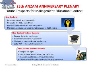 25th ANZAM ANNIVERSARY PLENARY Future Prospects for Management Education: Context