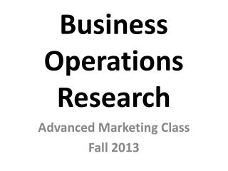 Business Operations Research