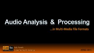 Audio Analysis  &  Processing