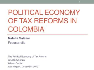 Political Economy of tax reforms in  colombia