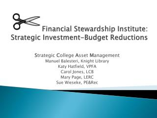 Financial Stewardship Institute: Strategic Investment-Budget Reductions