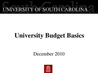 University Budget  Basics