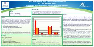Office Workout Challenge – by L&T Health and Fitness 2011  MACMA Award Winner Nicky Lowry, American University, Candida