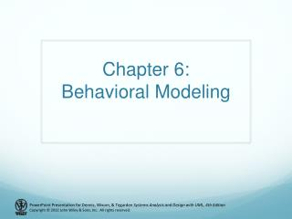 Chapter 6: Behavioral Modeling