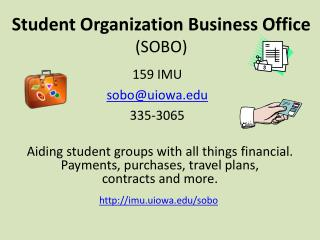 Student Organization Business Office  (SOBO)