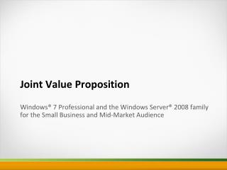 Joint Value Proposition