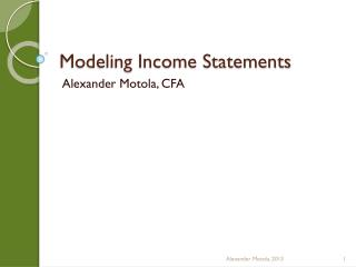 Modeling  Income Statements