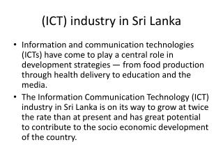 (ICT) industry in Sri Lanka