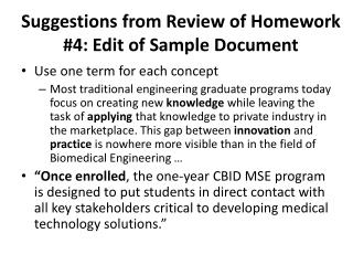 Suggestions from Review of Homework #4: Edit of Sample Document