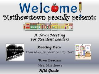 Matthewstown proudly  presents A  Town Meeting For Resident Leaders Meeting Date : Thursday, September  27, 2012 Town L
