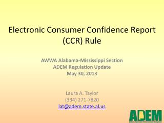 Electronic Consumer Confidence Report (CCR) Rule