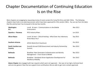 Chapter Documentation of Continuing Education Is on the Rise