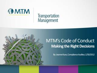 MTM�s Code of Conduct