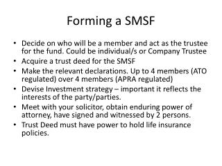 Forming a SMSF