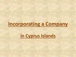 Incorporating a Company