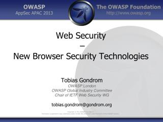 Web Security  –  New Browser Security Technologies